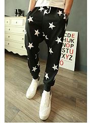 Star-Printed-Elastic-Waist-Mens-Casual-Pegged-Pants