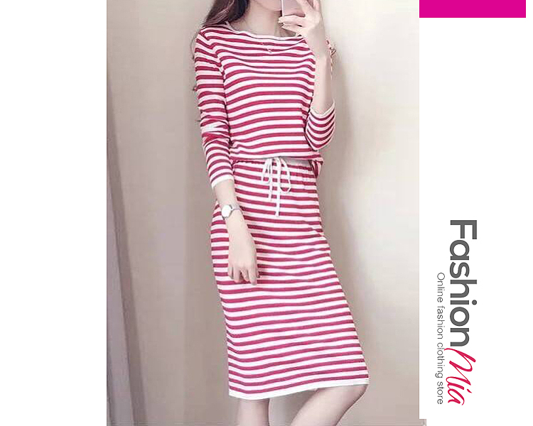 thickness:regular, brand_name:fashionmia, style:china,japan & korear, material:jersey, collar&neckline:round neck, sleeve:long sleeve, embellishment:lace-up, more_details:contrast piping, pattern_type:striped, length:knee-length, how_to_wash:machine wash, supplementary_matters:the fabric is slightly elastic., occasion:office, season:autumn,winter, dress_silhouette:sheath, package_included:suit*1, topslengthtopsshouldertopssleevetopsbustbottomslengthbottomswaist
