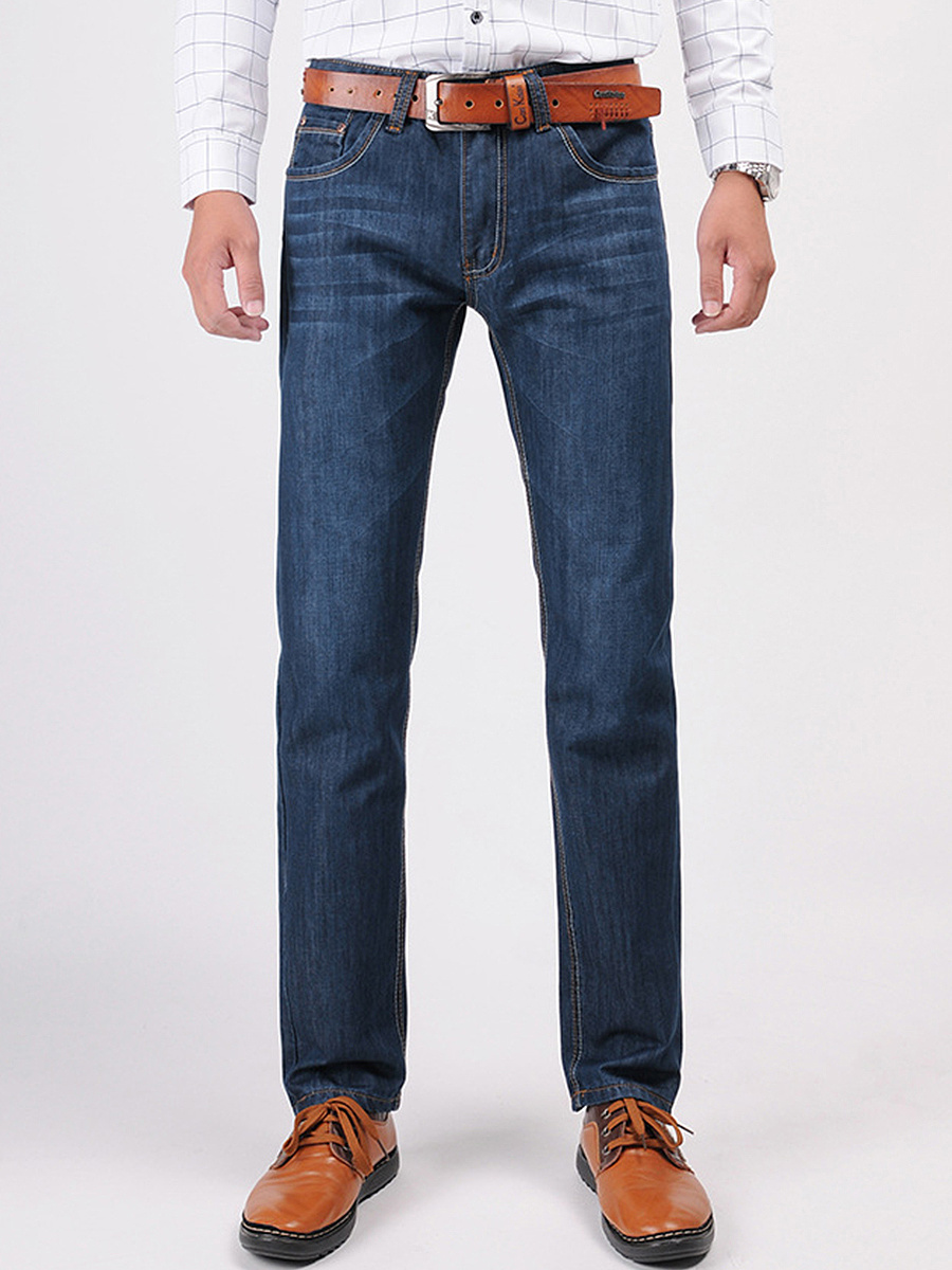 Fitted Patch Pocket Straight Men's Jeans