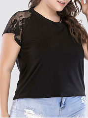 Round Neck  Decorative Lace  Plain  Short Sleeve Plus Size Blouses&T-Shirt