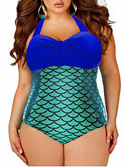 Color Block Halter  Hot Plus Size One Piece