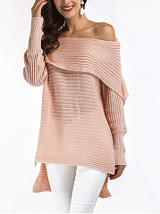 Off Shoulder Plain High-Low Sweater