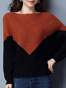 Round Neck  Patchwork  Color Block  Batwing Sleeve Knit Pullover