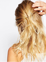 Gold Moon Shape Simple Hair Clip