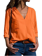 Spring Summer  Polyester  V-Neck  Plain  Long Sleeve Blouse