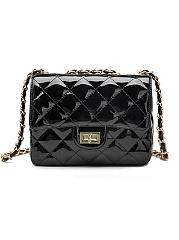 PU Plaid Plain Chain Shoulder Bags