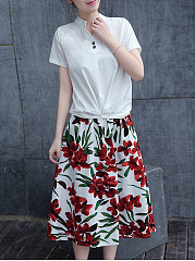 Split Neck T-Shirt And Elastic Waist Floral Printed Midi Skirt