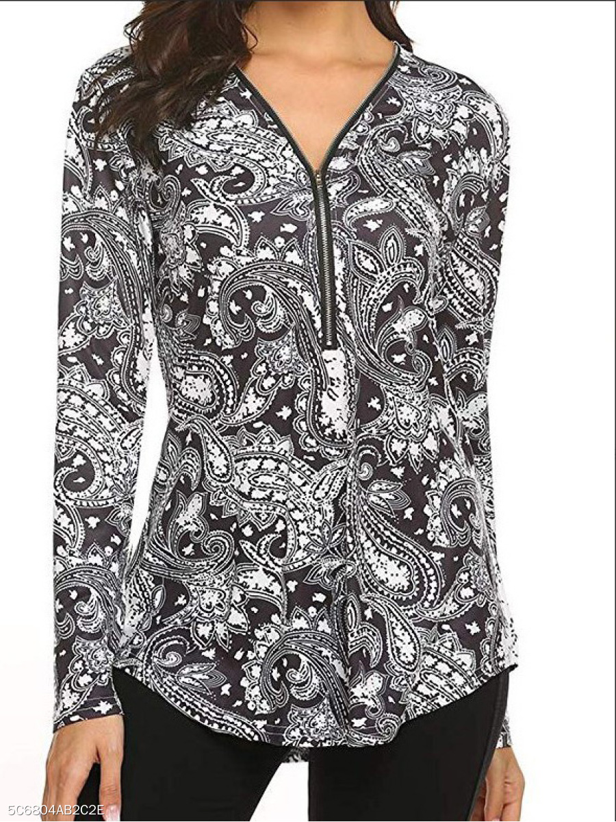 Polyester  V-Neck  Zips  Paisley  Long Sleeve Long Sleeve T-Shirts