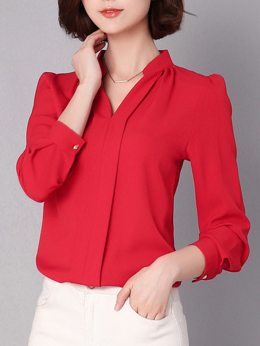 Split Neck  Plain Long Sleeve Chiffon Blouse