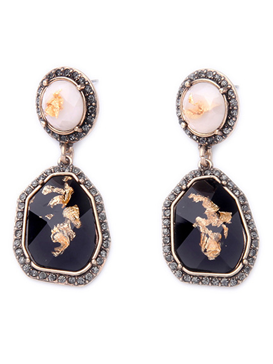 Trendy Imitation Stone Drop Earrings