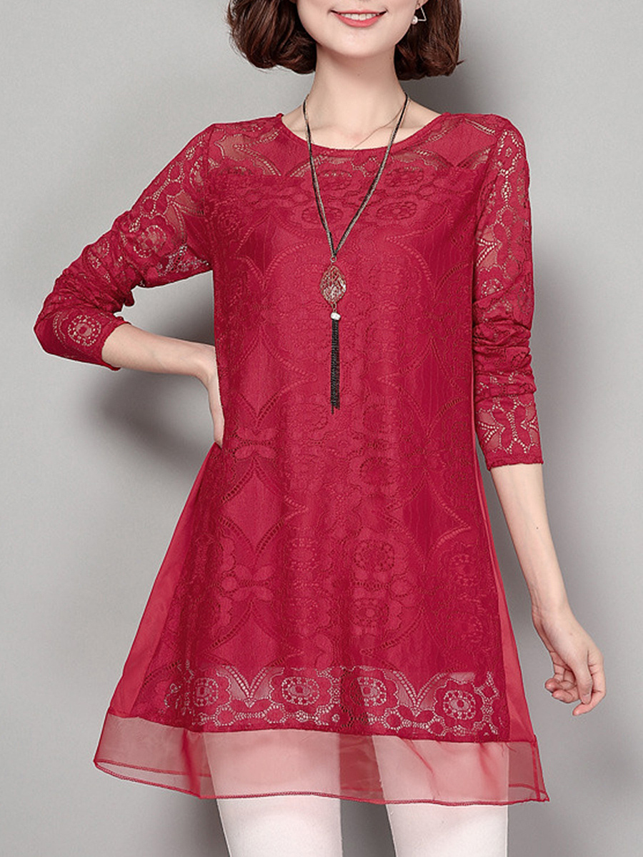 Longline Hollow Out Plain Lace Round Neck Blouse