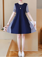 Round Neck Pinstripe Bowknot Skater Dress