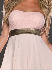 Strapless  Patchwork  Lace Plain Skater Dress