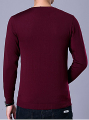 Men Basic Solid Crew Neck Sweater