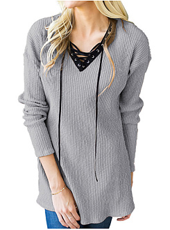 V Neck Lace Up Long Sleeve Plain T-Shirts