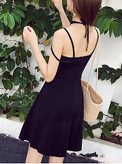 Unique Spaghetti Strap Hollow Out Plain Skater Dress