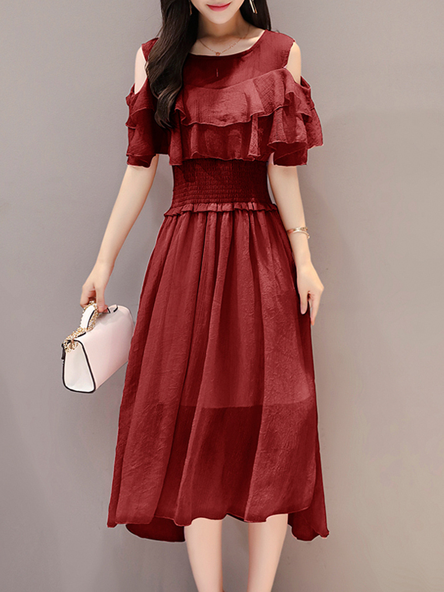 Open Shoulder Flounce Hollow Out Plain Maxi Dress