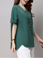 V-Neck  Vented  Plain Blouse