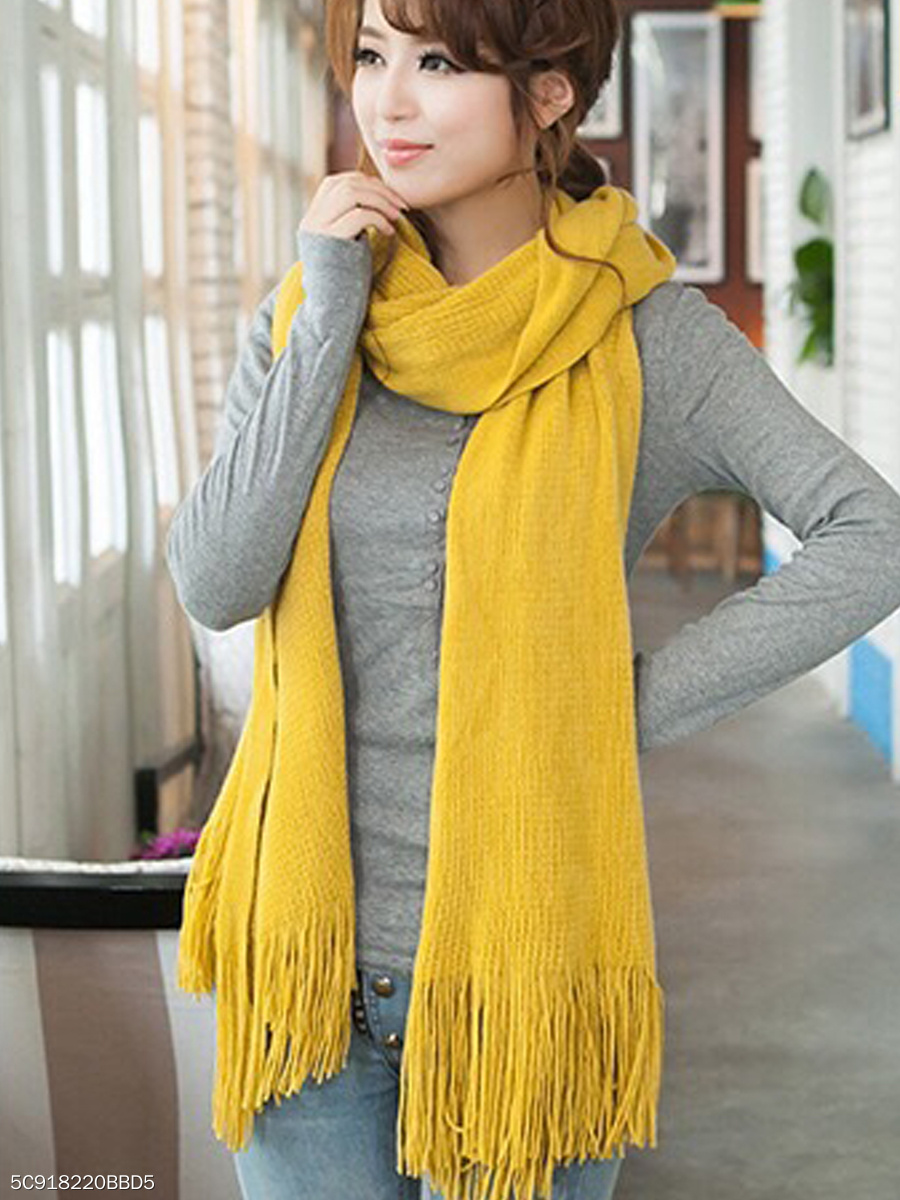 Warm Fashion Finge Tassel Decoration Suede Scarf