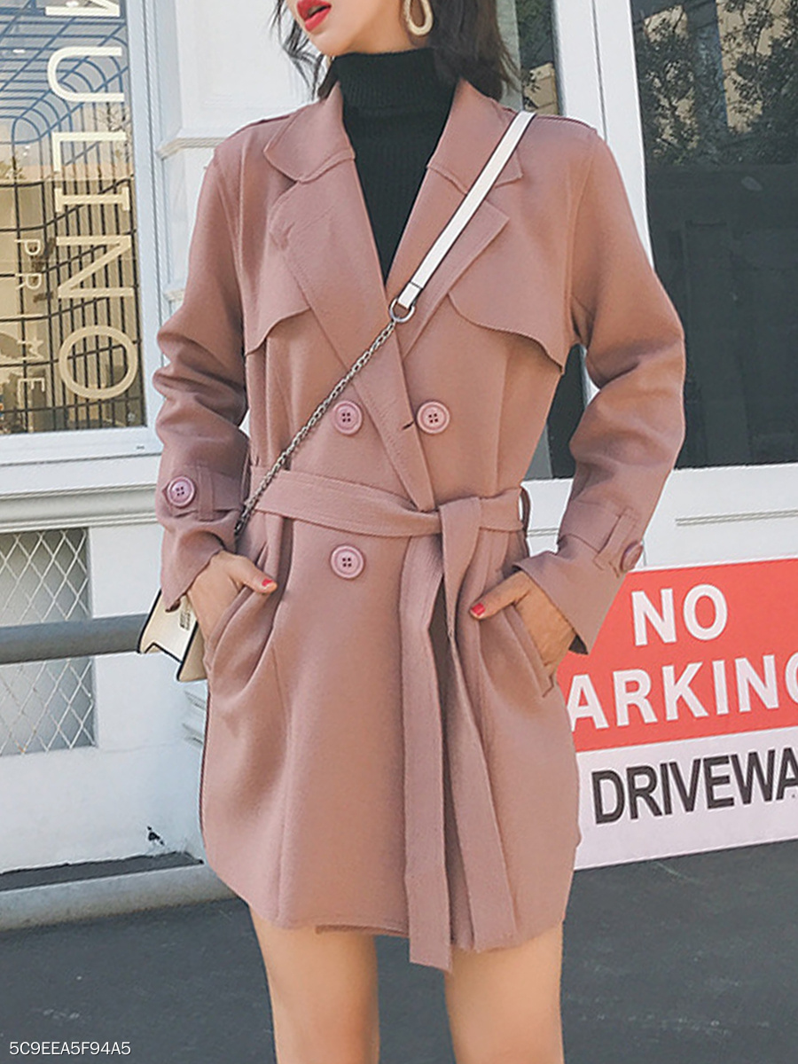 Notch Lapel  Double Breasted  Belt  Plain  Long Sleeve Trench Coats