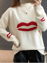High Neck  Color Block  Long Sleeve Red Lips Sweaters Pullover