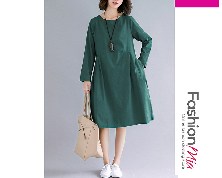 style:fashion, material:cotton/linen, collar&neckline:round neck, sleeve:long sleeve, pattern_type:plain, length:midi, how_to_wash:cold gentle machine wash, supplementary_matters:accessory is excluded.,all dimensions are measured manually with a deviation of 2 to 4cm., occasion:casual, season:autumn,winter, dress_silhouette:shift, package_included:dress*1, lengthshouldersleeve lengthbust