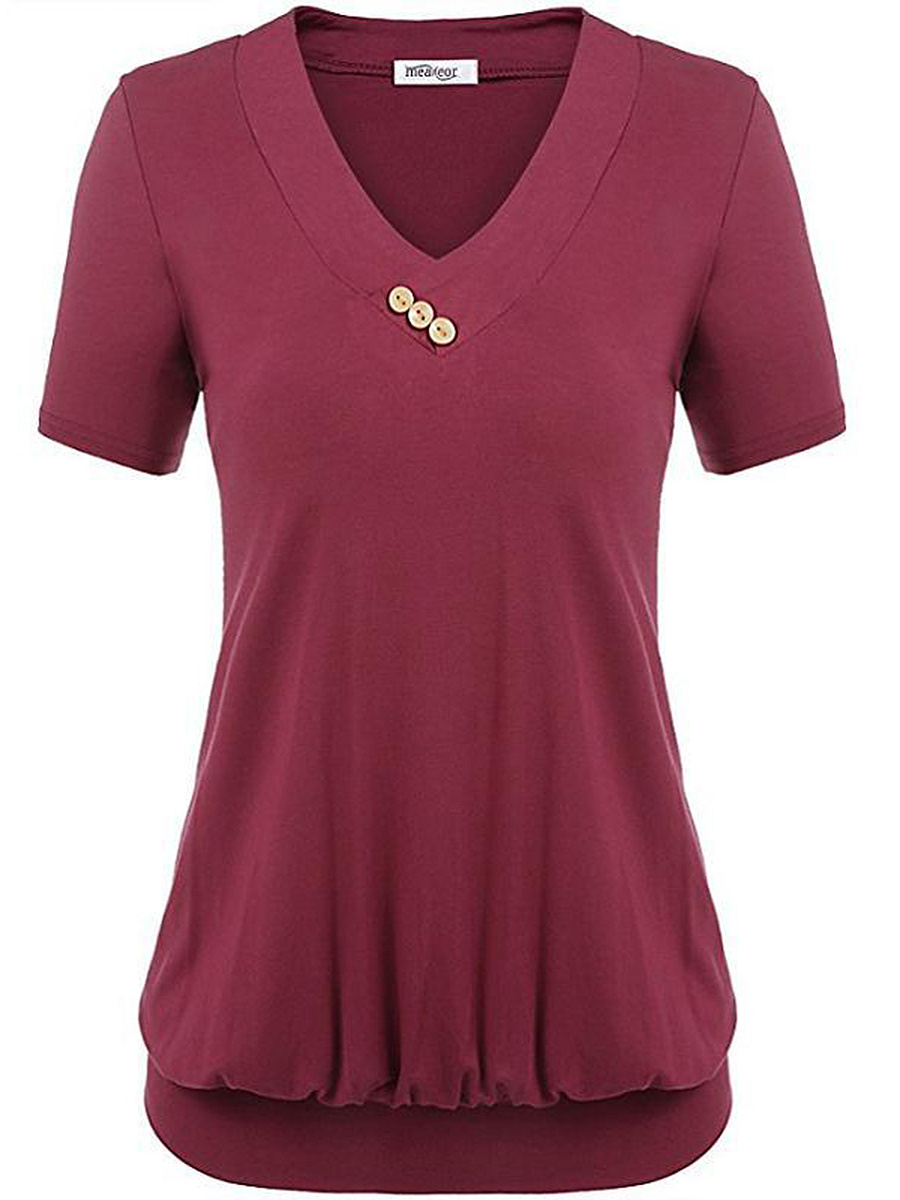 V-Neck  Decorative Button  Plain Short Sleeve T-Shirt
