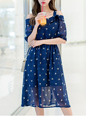 Hollow-Out-Printed-Open-Shoulder-Chiffon-Midi-Skater-Dress