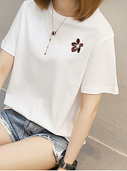 Summer  Cotton  Women  Round Neck Flower Embroidery Plain Short Sleeve T-Shirts