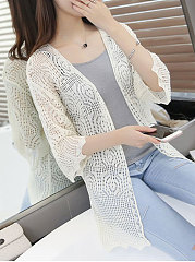 Decorative Lace  Hollow Out Plain  Three-Quarter Sleeve Cardigans