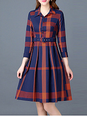 Fold-Over Collar  Color Block Plaid Skater Dress
