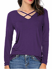 V-Neck Plain Cutout Long Sleeve T-Shirt