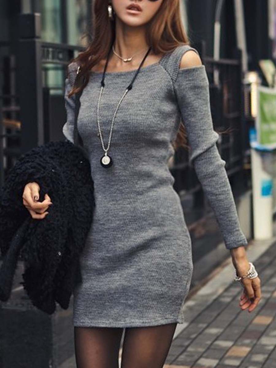Sexy Open Shoulder Plain Mini Bodycon Dress