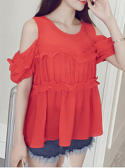 Summer  Polyester  Women  Open Shoulder  Flounce  Plain  Short Sleeve Blouses