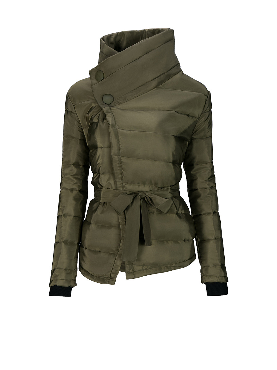 High Neck  Bowknot Asymmetric Hem Plain Padded Coat