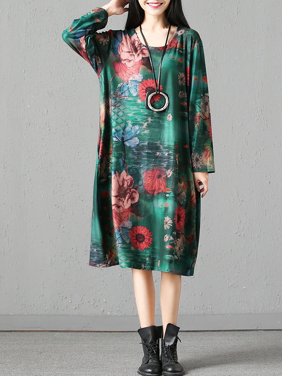 Round Neck  Slit Pocket  Floral Printed  Blend Maxi Dress