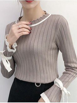 Round Neck  Contrast Piping  Plain Striped  Tie Sleeve  Long Sleeve Sweaters Pullover