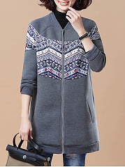 Zips  Bohemian Plain  Raglan Sleeve  Long Sleeve Coats