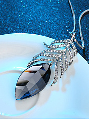 Rhinestone Feather Shape Long Necklace