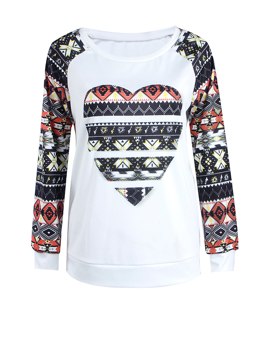 Round Neck Printed Raglan Long Sleeve T-Shirt