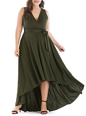 Surplice  Belt  Plain Plus Size Midi  Maxi Dresses