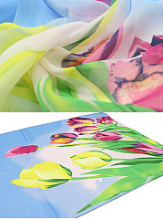 Tulips Printed Long Scarf