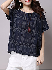Summer  Cotton  Women  Round Neck  Plaid  Short Sleeve Blouses