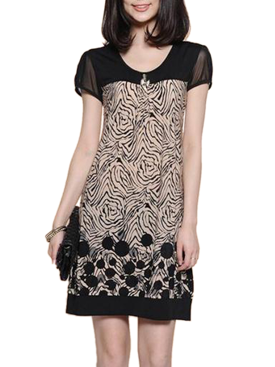 Round Neck Hollow Out Printed Bodycon Dress