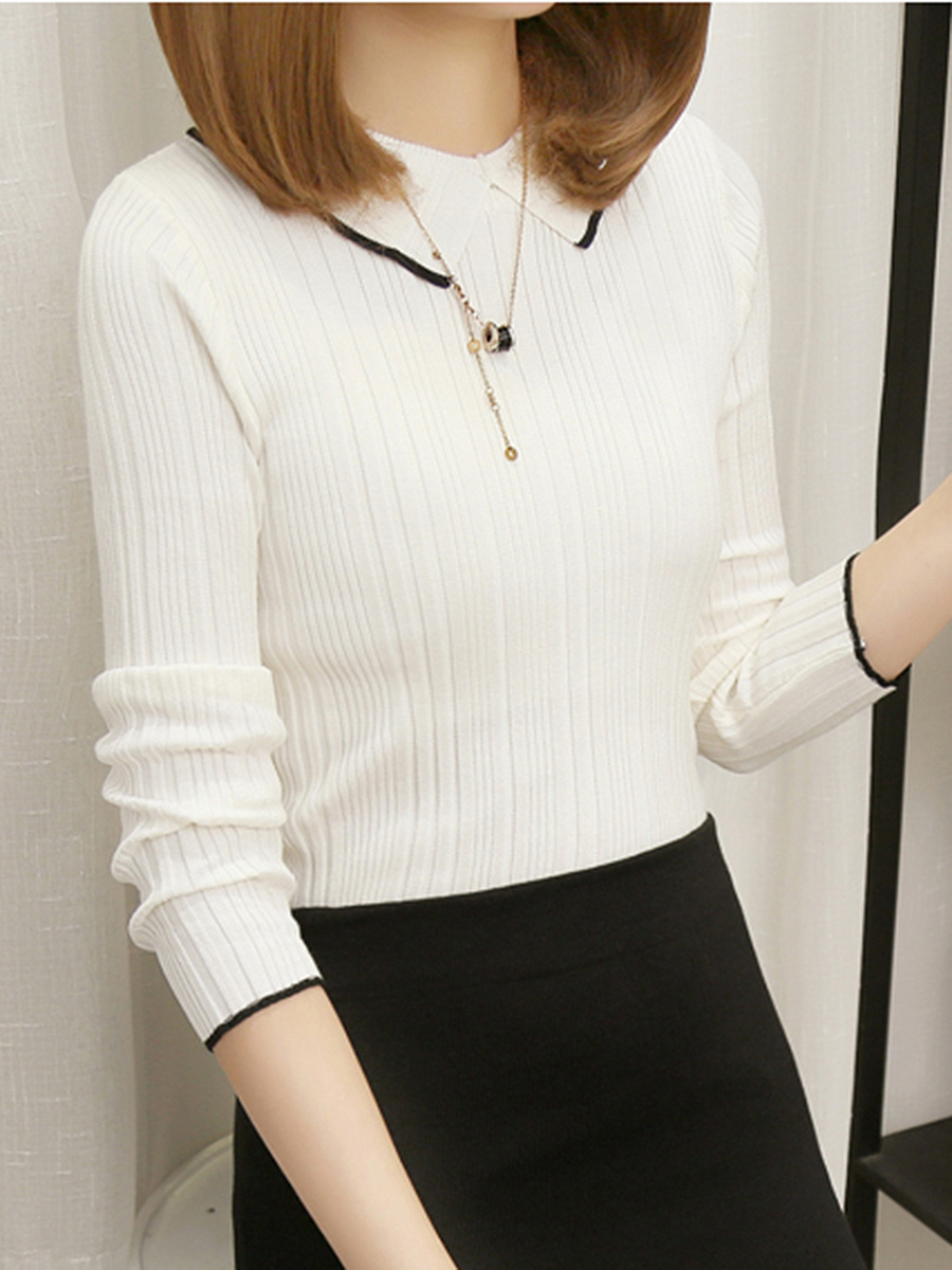 Doll Collar Contrast Trim Sweater