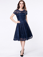 Round Neck Decorative Buttons Hollow Out Skater Dress