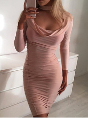 Halter  Backless  Two Way  Plain Bodycon Dress