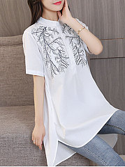Summer  Cotton  Women  Round Neck  Decorative Button  Embroidery  Short Sleeve Blouses