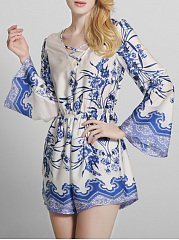 Bell-Sleeve-V-Neck-Pocket-Printed-Romper