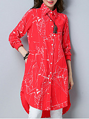 Turn Down Collar Single Breasted Abstract Print Shirt Dress